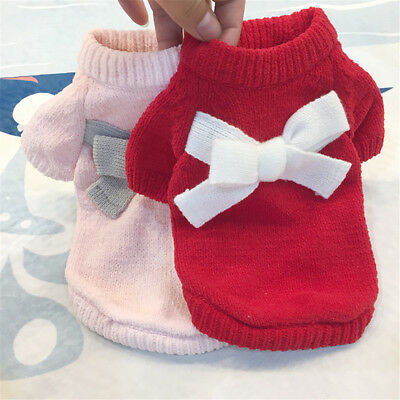 Pet Small Dog Cat Clothes Puppy Solid Color Bow Knot Chihuahua Soft Sweater dg