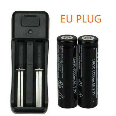 2pc18650 6000mAh Battery 3.7V Li-ion Rechargeable Batteries and Charger EU Plug