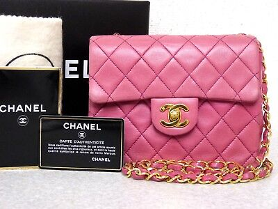 20cb9bcd8f6a ra5404 Auth CHANEL Pink Quilted Lambskin Leather CC Lock Mini Chain  Shoulder Bag