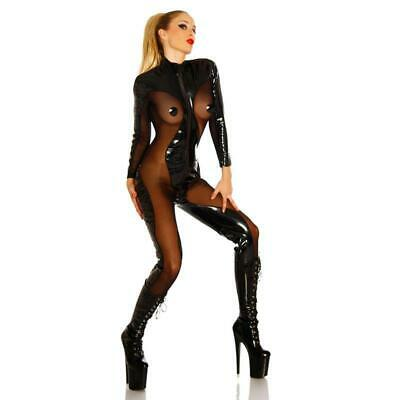Sexy Fetisch Overall Lack-Optik Transparent Wetlook Gogo Schwarz #Ov083