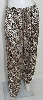 622b1d2c335 SECRET TREASURES Lounge Pants Gold Brown Black Animal Skin Print Polyester  Sz L