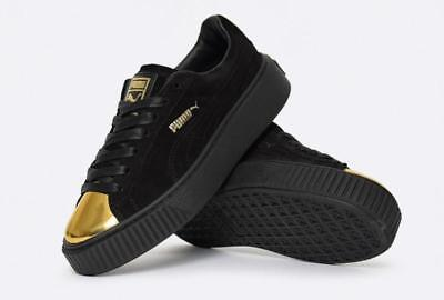 701ea63377c948 Puma Black Suede Leather Gold Foil Toe Accents Platform Creepers Sneakers  WMS