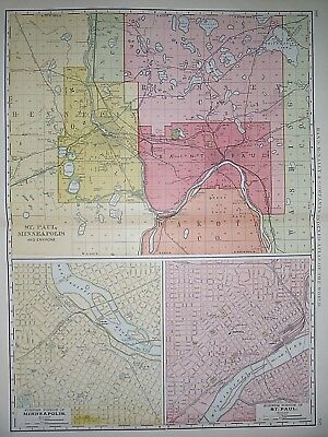 Vintage 1898 MINNEAPOLIS - ST. PAUL Atlas Map ~ Old Antique Original Large Map