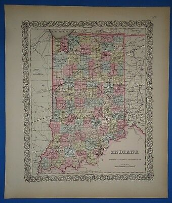 Vintage 1857 INDIANA Map - Old Original Hand Colored Colton's Atlas