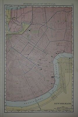 Vintage 1898 NEW ORLEANS, LOUISIANA Map ~ Old Antique Original Atlas Map