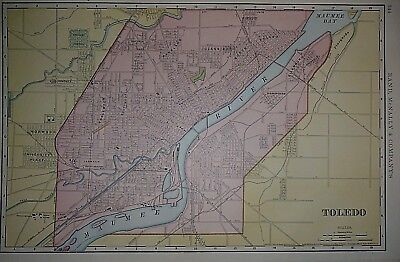 Vintage 1898 TOLEDO, OHIO Map ~ Old Antique Original Atlas Map