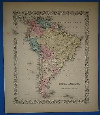 Vintage 1857 SOUTH AMERICA Map ~ Old Original Hand Colored Colton's Atlas
