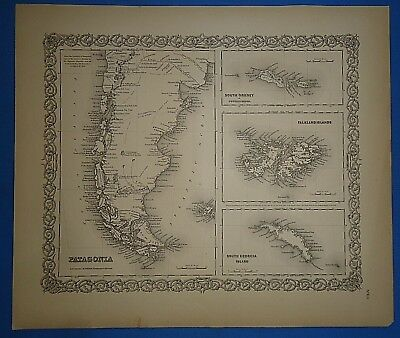Vintage 1857 PATAGONIA, S. AMERICA Map Old Original Hand Colored Colton's Atlas