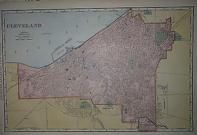 Vintage 1898 CLEVELAND, OHIO Map ~ Old Antique Original Atlas Map