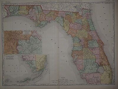 Vintage 1898 FLORIDA Atlas Map ~ Old Antique Original Large Map