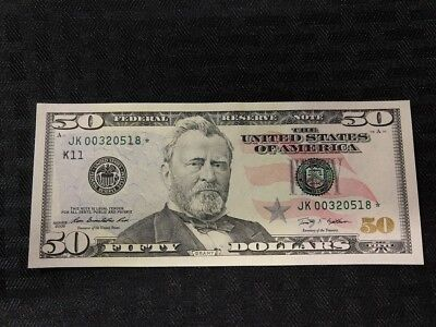 $50 Fifty Dollar Star Note 2009 Serial Number Jk00320518☆ Au