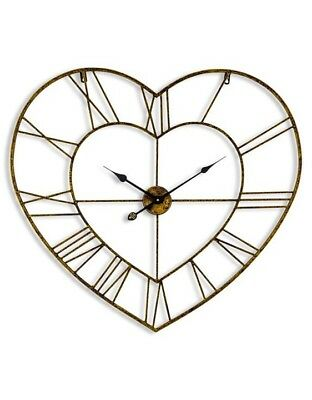 Large Antiqued Gold Heart Shaped Skeleton Wall Clock Roman Numerals Valentines