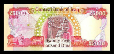 25,000 Iraqi Dinar Banknote (Iqd) Uncirculated Authentic Official Iraq Delivery