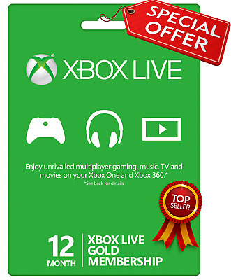 Microsof Xbox Live GOLD Subscription 🔥Card 12 Months GLOBAL⚡⚡Instant delivery📥