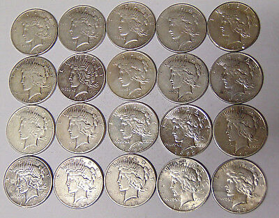 Lot of 20 Peace Silver Dollars 1922 1922-D 1922-S 1923 1923-D 1923-S Circulated