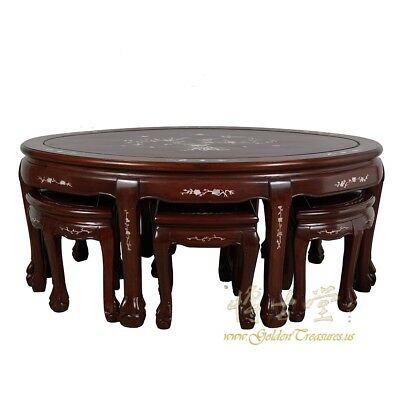 Vintage Chinese Rosewood with MOP inlayed Coffee Table with 6 Stools