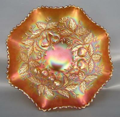 """Northwood FRUITS & FLOWERS Marigold Carnival Glass 9½"""" Master Berry Bowl 6043"""
