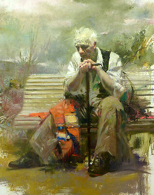 Oil painting portrait old man seated on bench in the garden landscape canvas