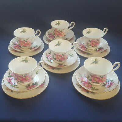 ROYAL ALBERT 'PRAIRIE ROSE' 6 trios available 1st quality excellent condition
