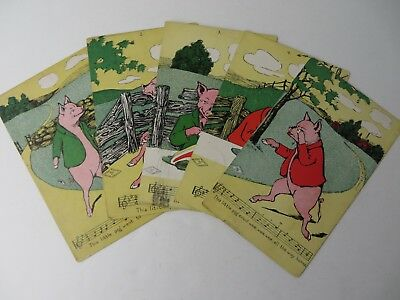 Antique Postcards Five Little Pigs Set Dated 1907 Lot of 5 Tullar Meredith #9114