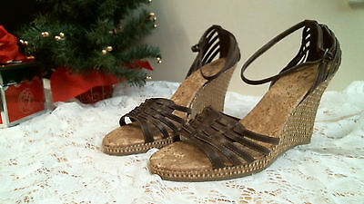 47d72fc5e410e7 DIBA EAST Sandals size 9 M BROWN Wedge ankle strap open toe casual Career