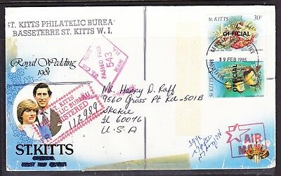 St Kitts 1985 Royal Wedding R112989 Censor to USA