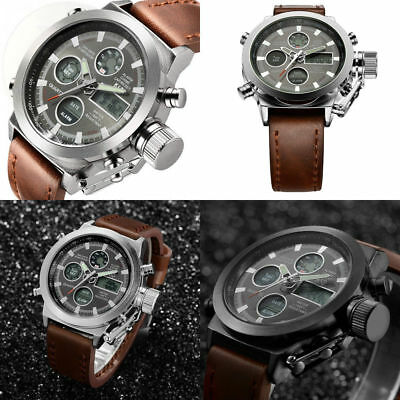 bfe48389f01 Tamlee Fashion Brown Leather Men s Military Watch Waterproof Analog Digital  Gift