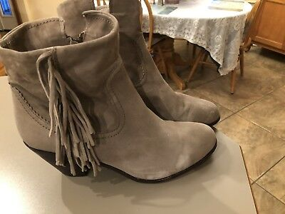 ea0821010 Sam Edelman Louie Light Gray Suede Leather Fringe Ankle Boots Women 12 M  Shoes