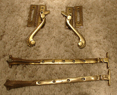Vintage set of 2 Window Latches Catches Levers & Keeps plus Matching Stays