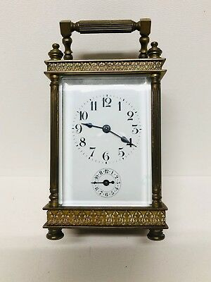 Unusual French Repeater Carriage Clock with Alarm Brass Body Beveled Glass #14