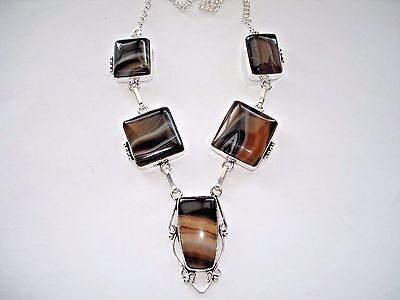 """AB One-Of-A-Kind Neutral Stripes Botswana Agate Statement Necklace Silver 19"""""""