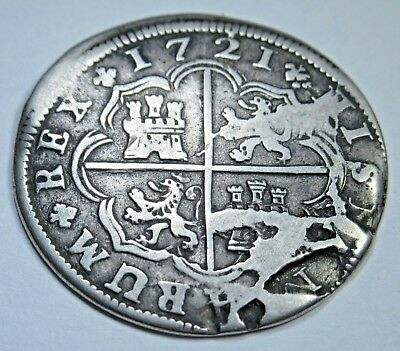 1721 LDS Shattered Die Spanish 2 Reales Pistareen Piece of 8 Real Cud Crack Coin