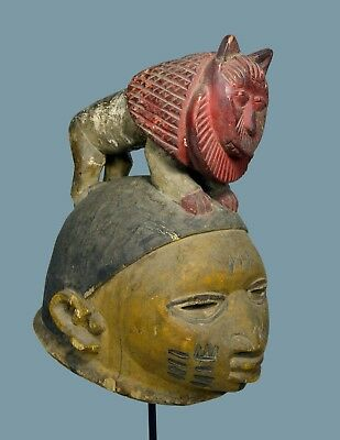 A Rare Old Yoruba Gelede African Mask with Royal Red Lion Finial, African Art