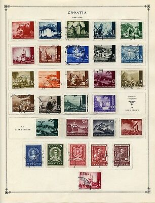CROATIA--Collection of 139 Stamps Mounted on Scott Pages Pre 1945