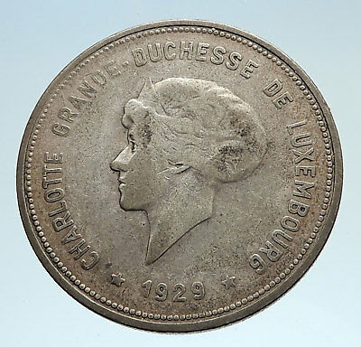 1929 LUXEMBOURG w Grand Dutchess Charlotte Antique Silver 5 Francs Coin i75073