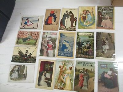 Lot Vintage Postcards Love - Romance - Advertising 16