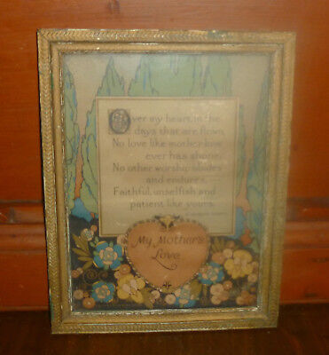antique Deco 1920s arts & crafts ART NOUVEAU ORNATE FRAME 9x7 Mother Poem Print