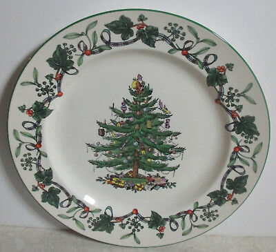 Spode Christmas Tree Round Chop Buffet Plate with Ivy Berries and Ribbon Rare!