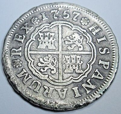 1757 Spanish Silver 2 Reales Piece of 8 Real US Colonial Pirate Treasure Coin