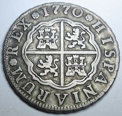 1770 Spanish Silver 2 Reales Piece of 8 Real US Colonial Pirate Treasure Coin