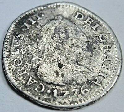 1776 Spanish Silver 1/2 Reales Piece of 8 Real Colonial Era Pirate Treasure Coin