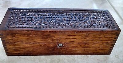 W&W Wheeler & Wilson Sewing Machines Wooden Carved Hinged Box