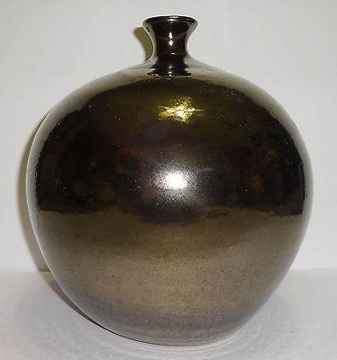 Large Vintage Metallic Chrome Finish Glazed Hand Made Hand Spun Pottery Vase