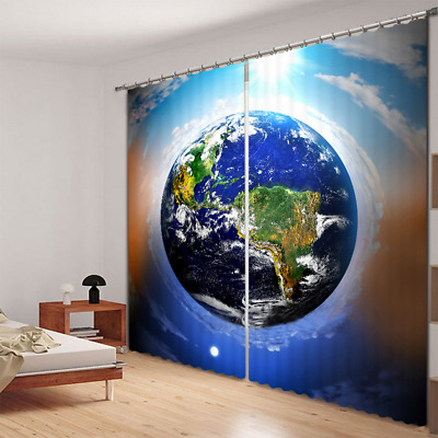 2 Panels Space Star Earth Photo Print 3D Blockout Drapes Curtain Fabric Window