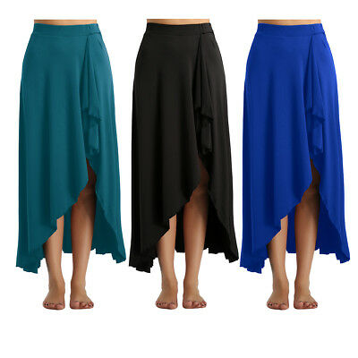 Women's Lyrical Belly Dance Long Skirt Irregular Boho Elastic High Waist Dress