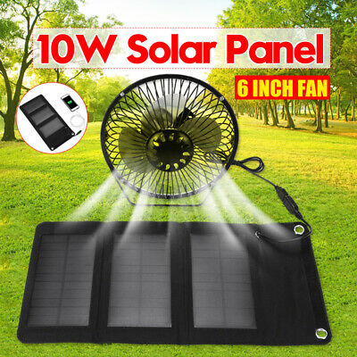 5W Solar Panel 6''  & Fan RV Touring Car Camping Pet Chicken House Ventilator