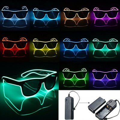 Flashing LED Neon Wire Light Up Sunglasses EL Glasses Glow Party Club UNIT