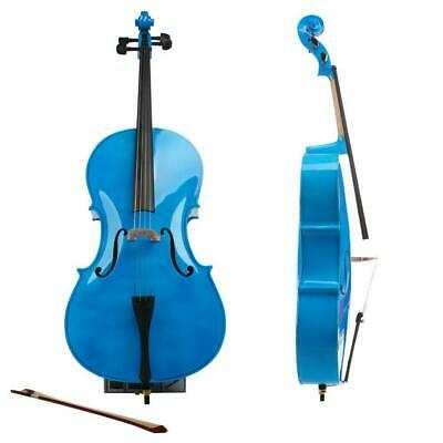 4/4 Full Size BassWood Cello Set with Bag+Bow+Bridge+Rosin Blue Professional