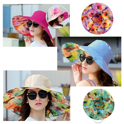 2018 Lady Sun Hat Summer Beach Floral Hats Foldable Wide Brim Outdoor Cap Hot-NJ