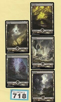 MTG Magic the Gathering - Swamp x 5 - Battle for Zendikar - Foil - (Full Art)